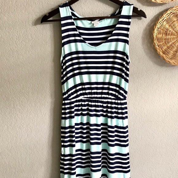 Merona striped turquoise and white dress
